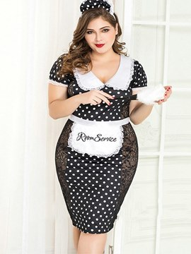Ericdress Polka Dots Floral See-Through Plus Size Maid Costume