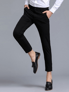 Ericdress Straight Plain Mens Casual Cropped Dress Pants