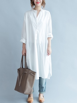 Ericdress Split Long Sleeve Stand Collar White Dress