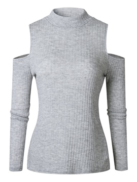 Ericdress Cold Shoulder Hollow Plain Long Sleeves Knitwear
