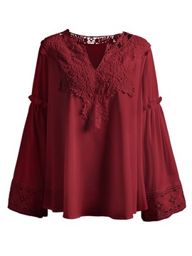 Ericdress Notch-V Lace Loose Flare Sleeve Womens Top