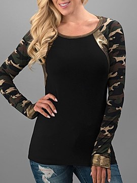 Ericdress Roll-up Patchwork Slim Camouflage Long Sleeves T Shirt