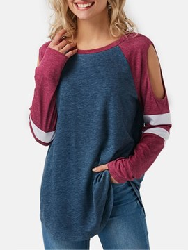 Ericdress Color Block Mid-Length Hollow Long Sleeve T Shirt