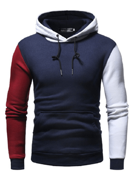Ericdress Patchwork Slim Hooded Pullover Mens Casual Hoodies