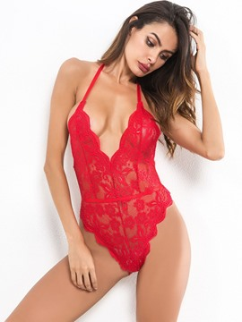 Ericdress Sexy Lingerie Bodysuit Backless Tight Wrap Halter Teddy