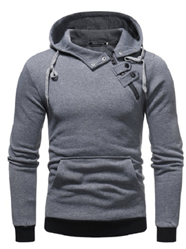 Ericdress Plain Zipper Slim Fit Pullover Hooded Mens Casual Hoodies