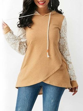 Ericdress Patchwork Lace Asymmetric Mid-Length Hoodie