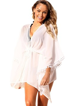 Ericdress Asymmetric Tassel Hollow Beach Cover Ups