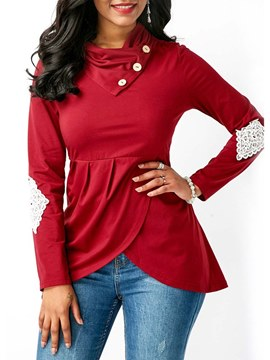 Ericdress Lace Patchwork Tunic Long Sleeves Womens T Shirt