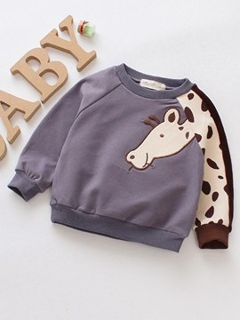 Ericdress Cartoon Embroidery Patchwork Baby Girl's Casual Sweatshirts