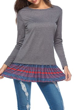Ericdress Patchwork Mid-Length Casual Stripe Womens T Shirt