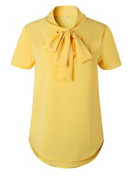 Ericdress Mid-Length Plain Bowknot Short Sleeve Womens T Shirt