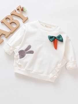 Ericdress Pleated Bowknot Pullover Cartoon Baby Girl's Sweatshirts