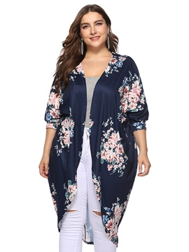 Ericdress Print Lantern Sleeve Plus Size Floral Sweater