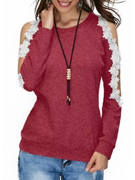 Ericdress Lace Patchwork Scoop Long Sleeve T Shirt