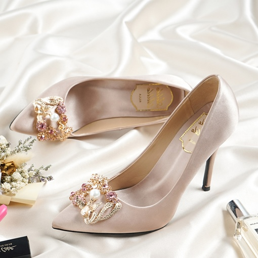 Ericdress Silk Fabric Rhinestone Stiletto Heel Pointed Toe Wedding Shoes