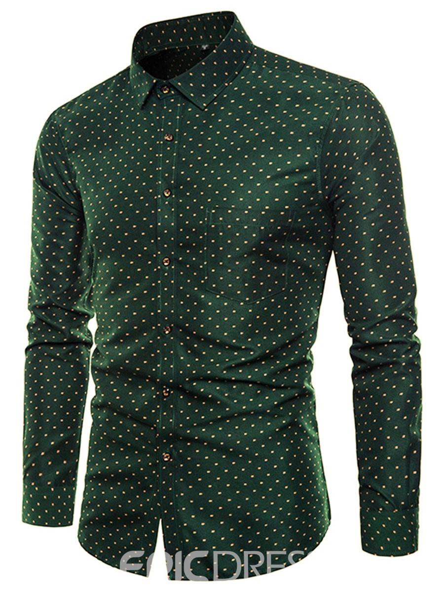 Ericdress Polka Dots Green Slim Fit Mens Casual Dress Shirts
