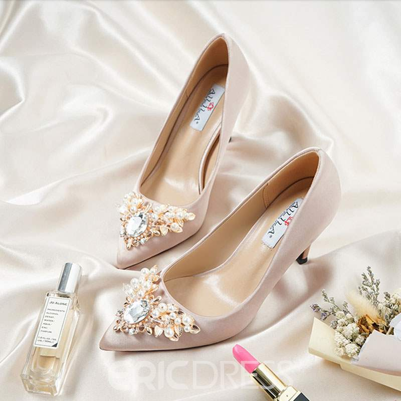 Ericdress Silk Fabric Rhinestone Pointed Toe Stiletto Heel Wedding Shoes