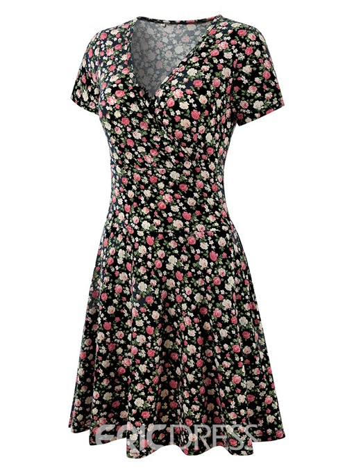 Ericdress A-Line Floral Print Women's Dress