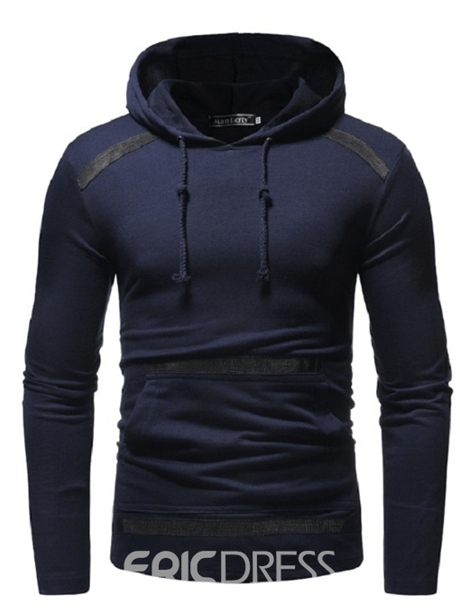 Ericdress Plain Hooded Pullover Lace Up Slim Mens Casual Hoodies