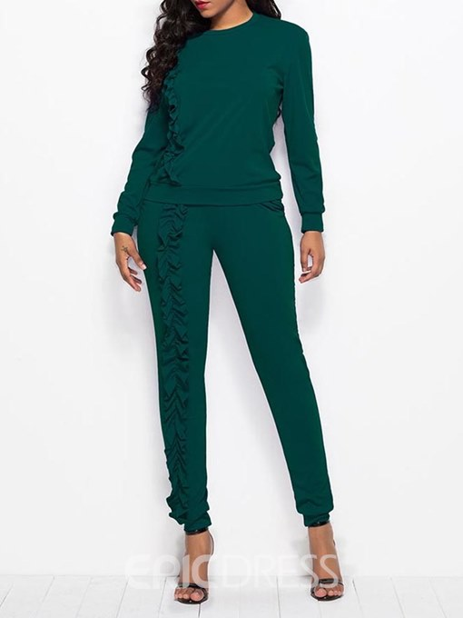 Ericdress Long Sleeves T-Shirt and Pants Pullover Women's Two Piece Set