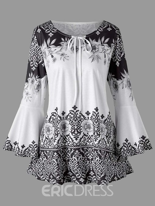 Ericdress Floral Tunic Loose Tie Front Top