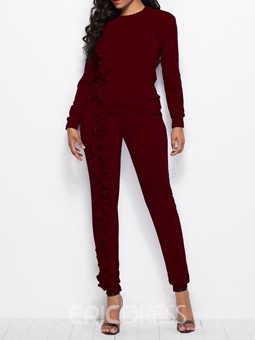 Ericdress T-Shirt and Pants Long Sleeves Tassel Women's Two Piece Set