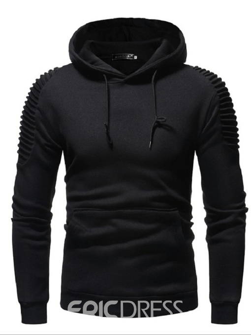 Eeicdress Plain Pleated Lace Up Mens Casual Hoodies