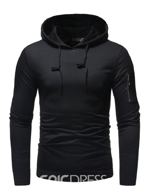 Ericdress Plain Zipper Pullover Hooded Slim Mens Casual Hoodies