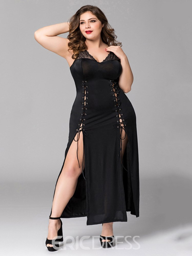 Ericdress V-Neck Lace-Up Ankle-Length Slit Up Plus size Sexy Dress