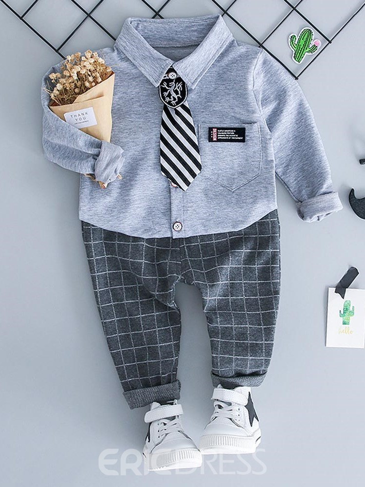Ericdress Plain Shirts Plaid Pants Baby Boy's Casual Outfits