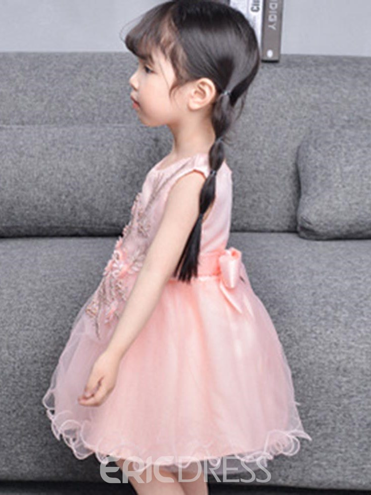 Ericdress Floral Embroidery Bowknot Sleeveless Girl's Ball Gown Dress