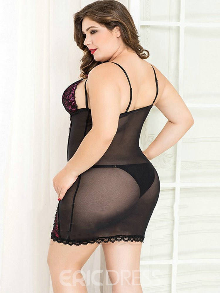 Ericdress Color Block See-Through Lace Sexy Plus Size Chemise