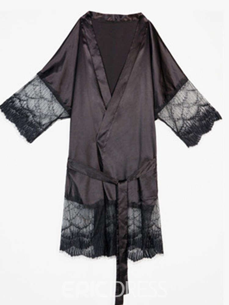 Ericdress Plain Lace Lace-Up Cardigan Plus Size Robe
