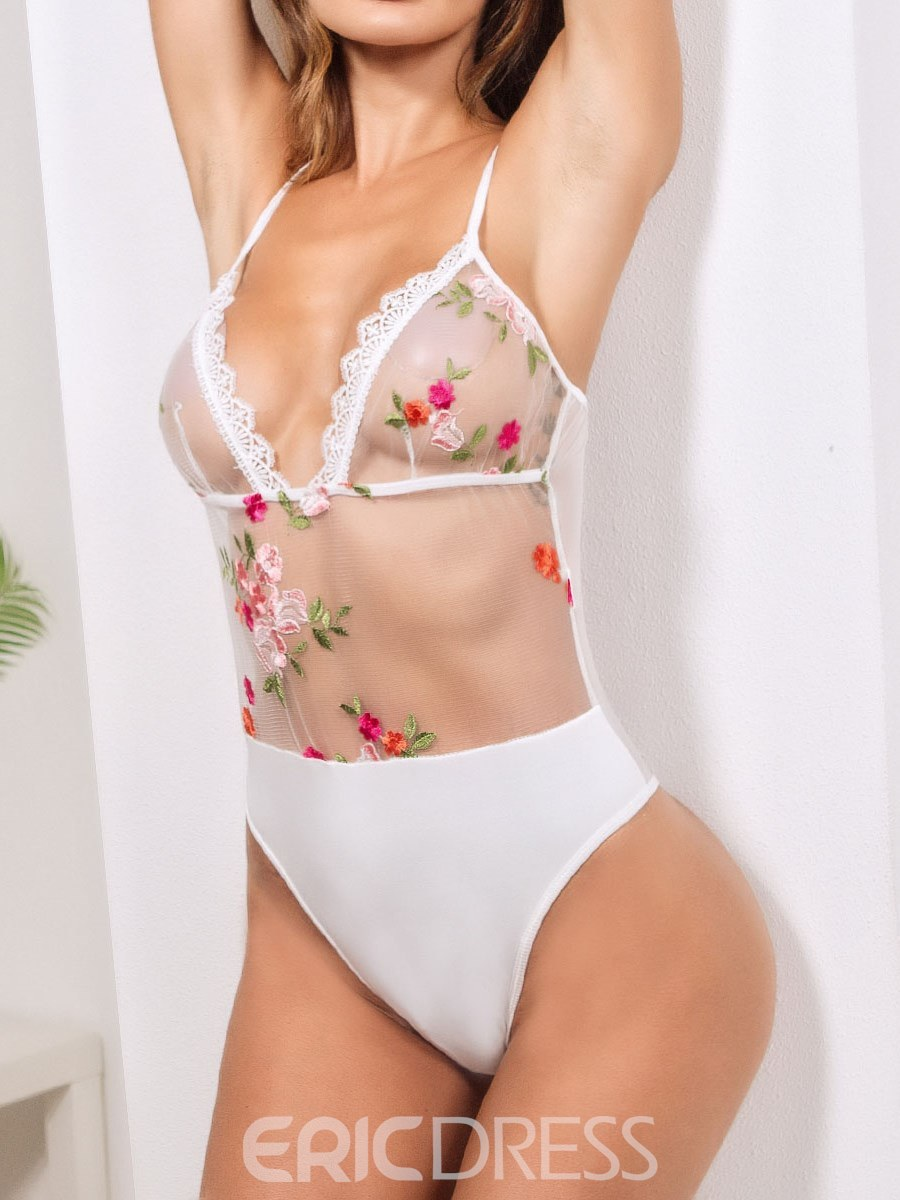 Ericdress Sexy Lingerie Lace Floral Embroidery Teddy Bodysuit