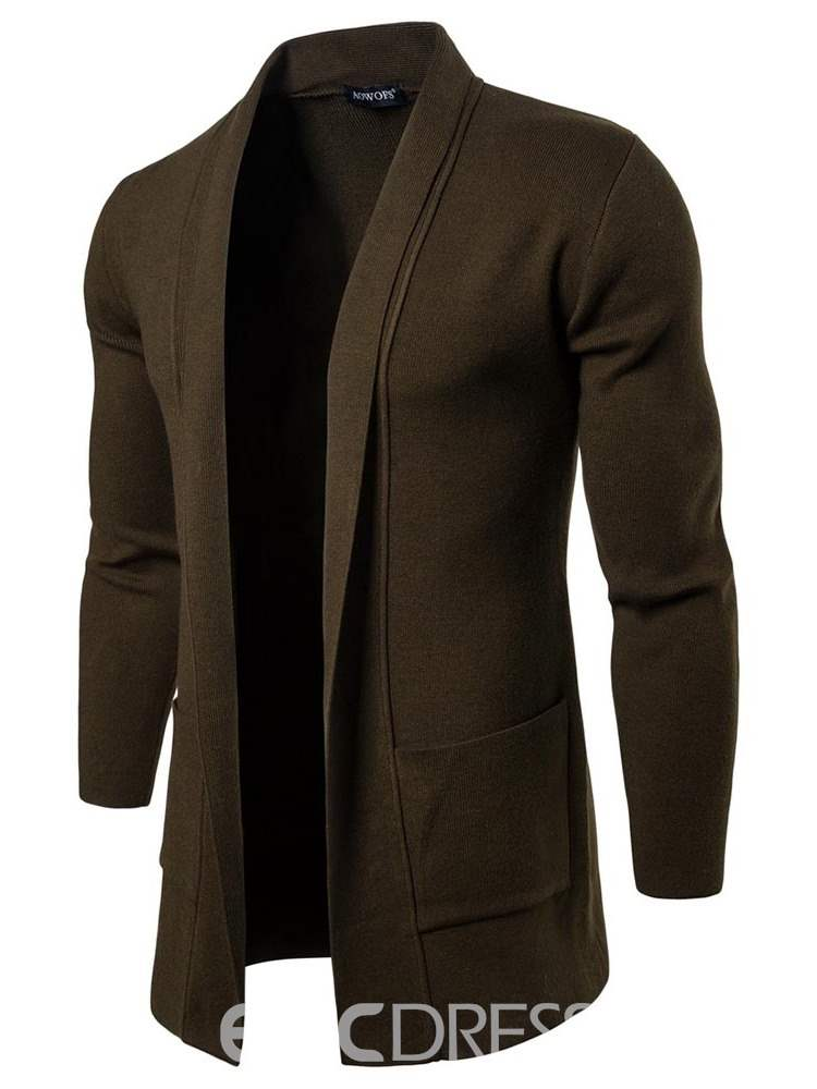 Ericdress Plain Slim Mid-Length Mens Cardigan With Pockets