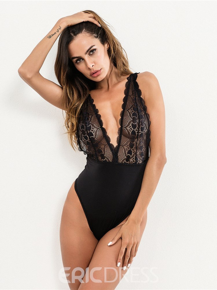 Ericdress Sexy Lingerie Deep V-Neck Lace Hollow Teddy Bodysuit
