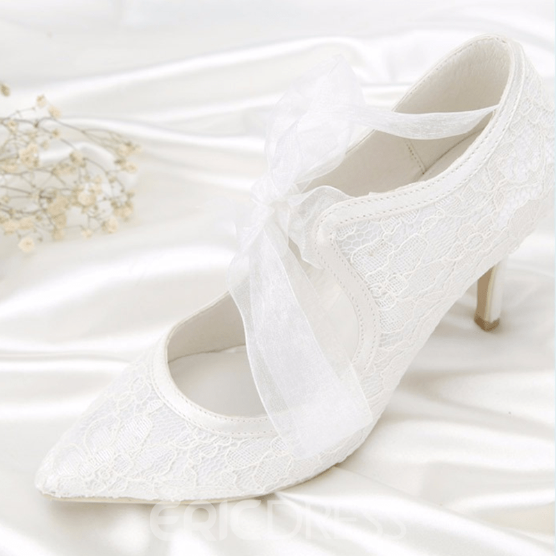 Ericdress Pointed Toe Lace-Up Stiletto Heel Wedding Shoes