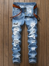 Ericdress Light Blue Straight Mens Ripped Jeans фото