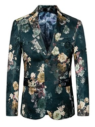 Ericdress Green Floral Print Plus Size Mens Slim Fit Blazer фото