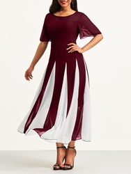 Ericdress Burgundy Color Block Patchwork Pullover Casual Dress thumbnail