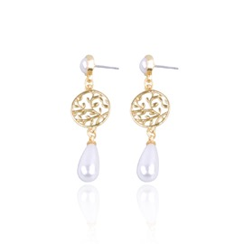 Ericdress Pearl Hollow Out Carve Drop Earring