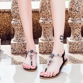 Ericdress Rhinestone Elastic Band Strappy Thong Flat Sandals