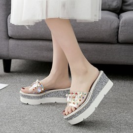 EricdressRhinestone Sequin Wedge Heel Mules Shoes with Beads