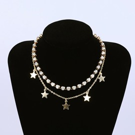 Ericdress Star Diamante Double Chain Choker Necklace