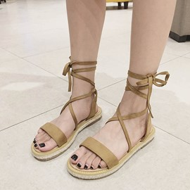 Ericdress Lace-Up Ankle Strap Block Heel Flat Sandals