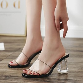 Ericdress Flip Flop Transparent Chunky Heel Mules Shoes