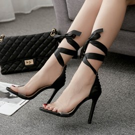 Ericdress Patchwork Lace-Up Heel Covering Stiletto Sandals