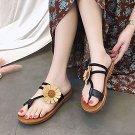 Ericdress Floral Appliques Toe Ring Slip-On Mules Shoes