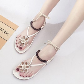 Ericdress Beads Appliques Strappy Thong Flat Sandals